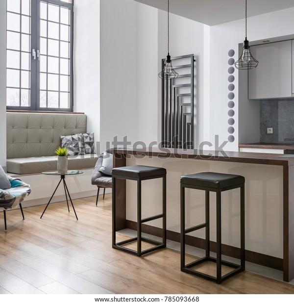 Interior Kitchen Island Bar Stools Modern Stock Photo Edit Now 785093668