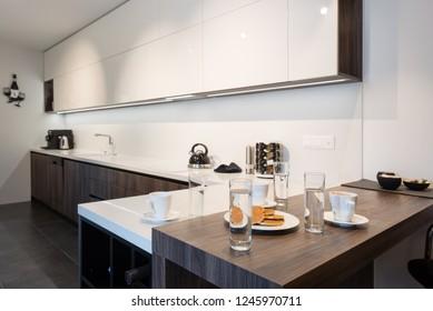 Interior of kitchen in modern house