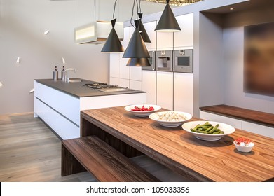 interior of kitchen with modern lamps