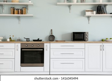 Interior of kitchen with modern oven