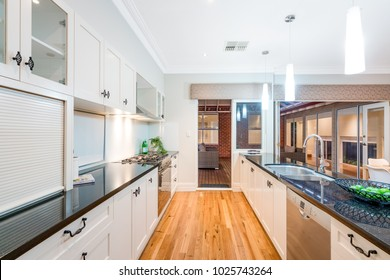 Interior of kitchen in a new modern Australian style home. PERTH, WESTERN AUSTRALIA. Photographed: January, 2018.