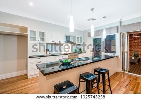 Interior Kitchen New Modern Australian Style Stock Photo (Edit Now on wheelchair friendly kitchen design, bistro style kitchen design, cafe style kitchen design,