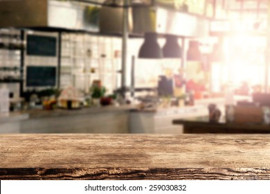 interior of kitchen in restaurant and brown retro desk space of wood