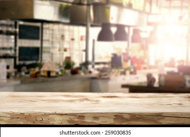 interior of kitchen in restaurant and desk of retro wood