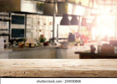 interior of kitchen in restaurant and napkin and desk space