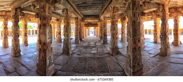 Interior of Krishna temple panorama, Hampi, India