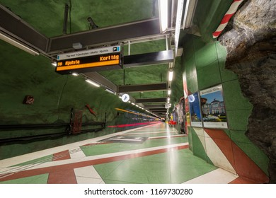 Interior of Kungstradgarden metro station, Stockholm, Sweden - 22 Jun 2018: The entrance to the station was intended to be in the park, but due to the Elm Conflict in 1971 these plans had to changed.