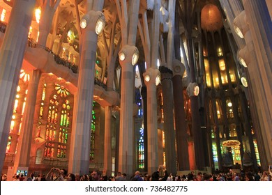 Interior of La Sagrada Familia (Holy Family Church) - June 2017