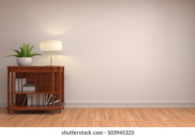 interior with lamp. 3d illustration