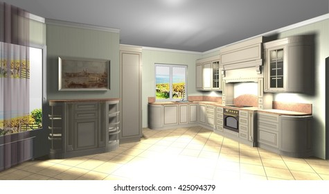interior is a large kitchen in classic style 3D rendering