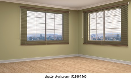 interior with large window. 3d illustration.