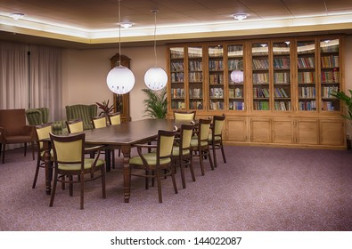 Interior of library in senior house