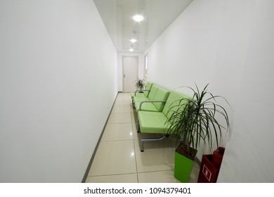 Interior of light corridor in medical clinic.