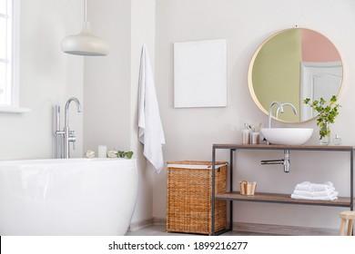 Interior of light modern bathroom