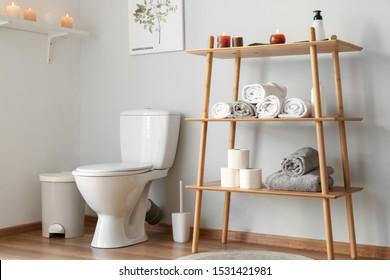 Interior of light modern restroom