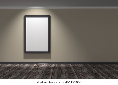 Interior with light yellow brown stucco wall and planks wood floor one empty frames on the wall - 3d illustration