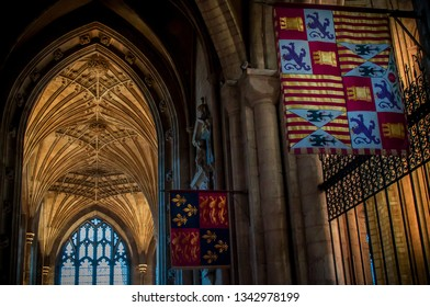 Interior lighting and flags inside Peterborough Cathedral