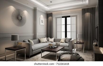 Interior living modern classic style, 3D rendering, 3D illustration