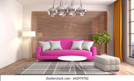 Cozy Living Room Interior Decoratedultraviolet Home Stock ...