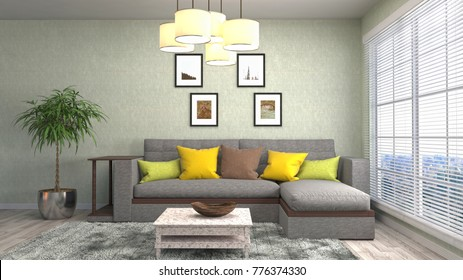 Interior living room. 3d illustration