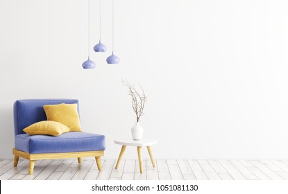 Interior of living room with blue velours armchair, yellow cushions, wooden coffe table with vase and lamps over white wall 3d rendering