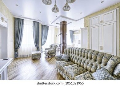 Interior of the living room in a classic style in a modern house.