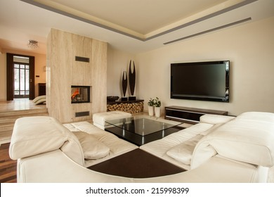 Interior of living room with a fireplace