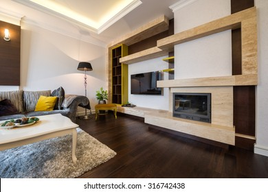 Interior of a living room with fireplace