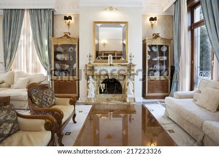 interior living room fireplace luxury villa stock photo edit now rh shutterstock com