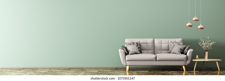 Interior of living room with gray sofa, wooden coffee table with vase with branch and lamps panorama 3d rendering