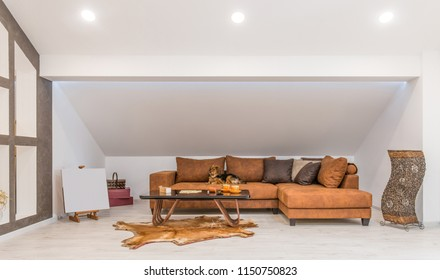 Interior of a living room in loft apartment
