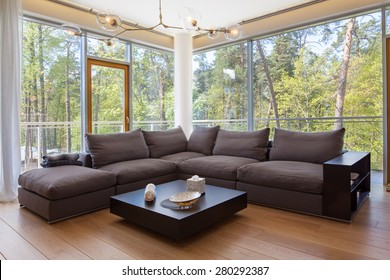 Interior of living room with a view