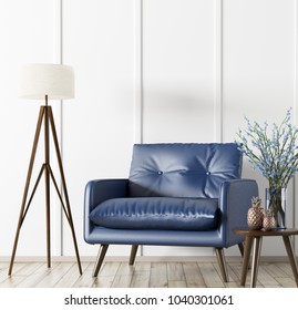 Interior of living room with wooden coffee table,floor lamp and blue armchair 3d rendering