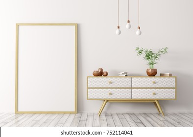 Interior of living room with wooden sideboard and blank mock up poster frame 3d rendering