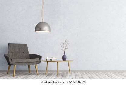 Interior of living room with wooden triangular coffee table, lamp and  black armchair 3d rendering