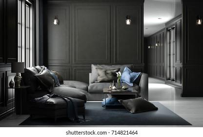 Interior living studio mock-up, black classic style, 3D rendering, 3D illustration
