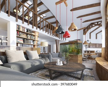 Interior living-room, loft style. Maisonette a modern residential with a billiard room in the big house. Aquarium and stylized shelving for books. 3D render