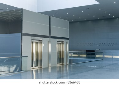 An interior of a lobby in business center