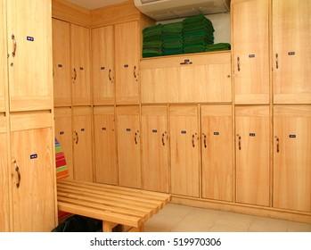 Interior of  locker in changing room
