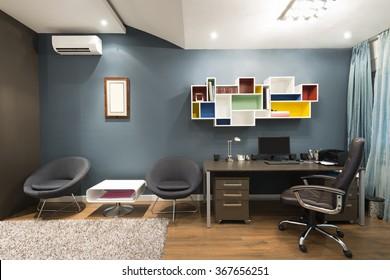 Interior of a loft apartment study room