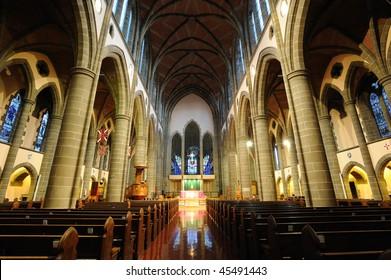 Interior look a historical church in victoria, british columbia, canada