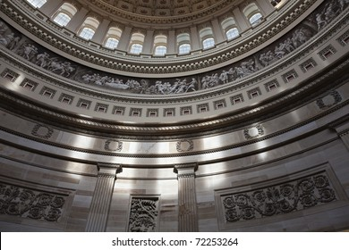 Interior looking up inside the United States Capitol building.