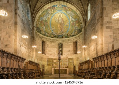 Interior of Lund cathedral with the high altar and the mosaic ,  Lund, Sweden, November 16, 2018