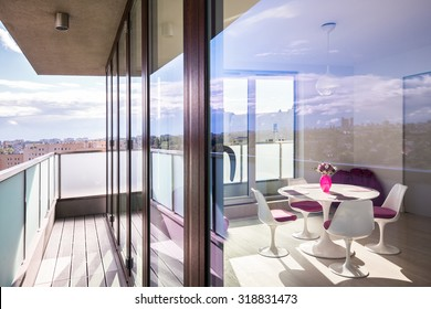 Interior of luxury apartment in the skyscraper