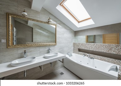 Interior of a luxury bathroom in loft apartment