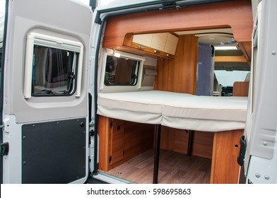 Interior of luxury caravan. Detail photo of coach with luxury equipment