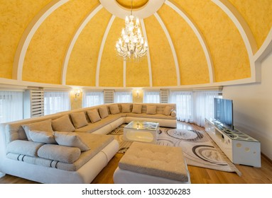 Interior of a luxury dome apartment villa, living room, domed ceiling, open plan