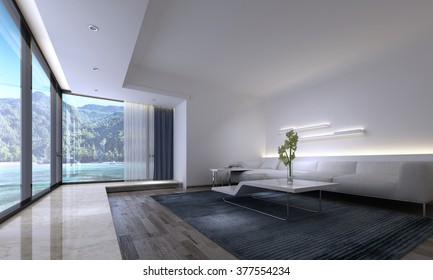 Interior of Luxury Home - Long White Sofa with Modern Coffee Table in Spacious Living Room with View of Tropical Beach and Mountains Through Large Picture Window. 3d Rendering.