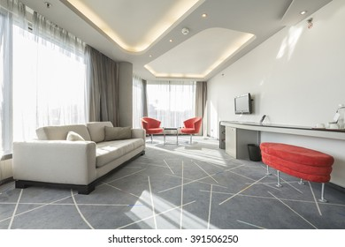Interior of a luxury hotel apartment with sunlight
