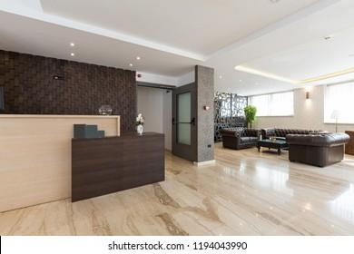 interior of a luxury hotel longue